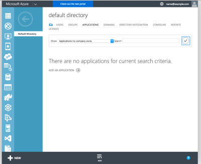Azure Management Portal Active Directory Applications