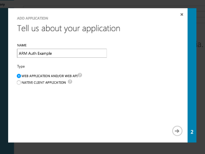 Give your app a name, and select Web Application.