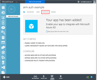 New Azure AD Application is ready.