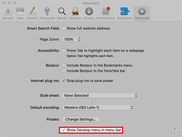 Enable develop menu in Safari.